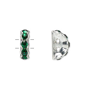 spacer, glass rhinestone and silver-plated brass, green, 12x4mm 2-strand half-round bridge, fits up to 3.5mm bead. sold per pkg of 10.