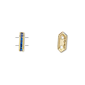 spacer, gold-finished brass and rhinestone, blue, 11x2.5mm 2-strand bridge, fits up to 4.5mm bead. sold per pkg of 10.