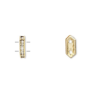 spacer, gold-finished brass and rhinestone, clear, 11x2.5mm 2-strand bridge, fits up to 4.5mm bead. sold per pkg of 10.