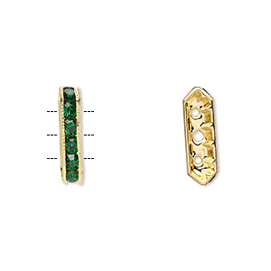 spacer, gold-finished brass and rhinestone, green, 16x3.5mm 3-strand bridge, fits up to 3.5mm bead. sold per pkg of 10.