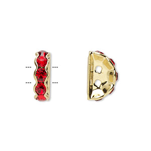 spacer, gold-finished brass and rhinestone, red, 12x4mm 2-strand half-round bridge, fits up to 3.5mm bead. sold per pkg of 10.