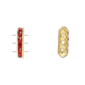 spacer, gold-finished brass and rhinestone, red, 16x3.5mm 3-strand bridge, fits up to 3.5mm bead. sold per pkg of 10.