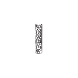 spacer, jbb findings, antique silver-plated brass, 16.5x4mm 3-strand rectangle and single-sided swirl design. sold individually.
