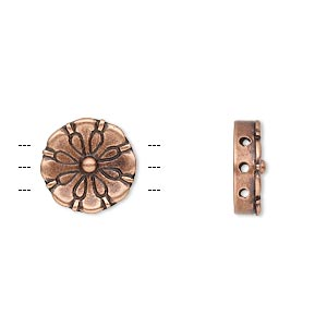 spacer, jbb findings, antiqued copper-plated brass, 12.5mm 3-strand flat round flower. sold individually.