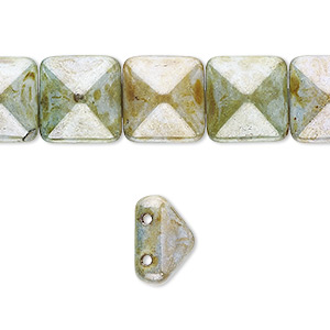 spacer, preciosa, czech pressed glass, marbled opaque green and brown luster, 11x11mm 2-strand pyramid, fits up to 5.5mm bead. sold per 8-inch strand, approximately 15 spacers.