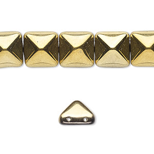 spacer, preciosa, czech pressed glass, opaque bronze gold, 11x11mm 2-strand pyramid, fits up to 5.5mm bead. sold per 8-inch strand, approximately 15 spacers.