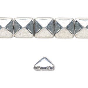 spacer, preciosa, czech pressed glass, opaque silver, 11x11mm 2-strand pyramid, fits up to 5.5mm bead. sold per 8-inch strand, approximately 15 spacers.