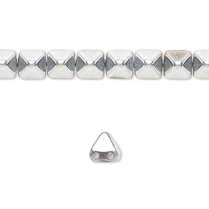 spacer, preciosa, czech pressed glass, opaque silver, 6x6mm 2-strand pyramid, fits up to 3mm bead. sold per 8-inch strand, approximately 30 spacers.