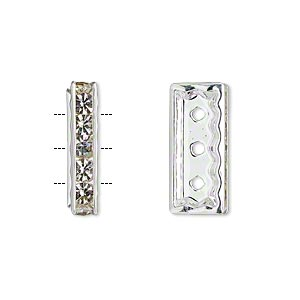spacer, silver-plated pewter (zinc-based alloy) and czech glass rhinestone, clear, 18x4mm 3-strand rectangle, fits up to 4mm beads. sold per pkg of 2.