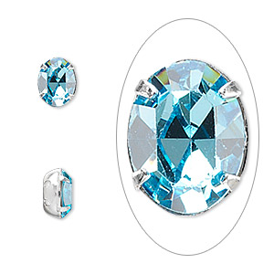 spacer, swarovski crystals and rhodium-plated brass, aquamarine, 8x6mm 2-strand oval (15504), fits up to 3mm bead. sold per pkg of 48.