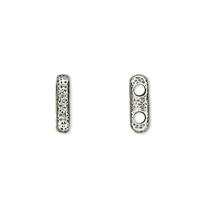 spacer, tierracast, antiqued pewter (tin-based alloy), 12.5x3mm 2-strand textured bar with 2mm hole, fits up to 5.5mm bead. sold per pkg of 2.
