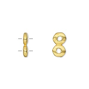 spacer, tierracast, gold-plated pewter (tin-based alloy), 12.5x2.5mm 2-strand rondelle nugget with 2mm hole, fits up to 6mm bead. sold per pkg of 2.