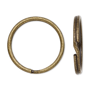 split ring, antique brass-plated steel, 28mm round. sold per pkg of 10.