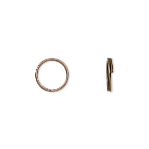 split ring, antique copper-plated steel, 10mm round. sold per pkg of 1,000.