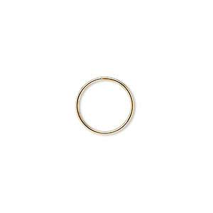split ring, gold-finished steel, 12mm round. sold per pkg of 100.