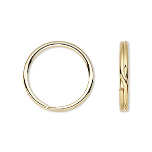 split ring, gold-finished steel, 20mm round. sold per pkg of 10.