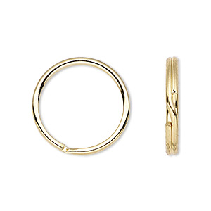 split ring, gold-finished steel, 20mm round. sold per pkg of 100.