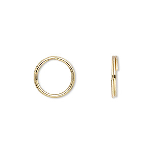 split ring, gold-plated steel, 12mm round. sold per pkg of 100.