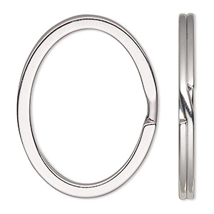 split ring, nickel-finished steel, 34x28mm flat oval. sold per pkg of 100.