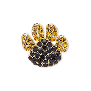 spot pin, czech glass rhinestone with gold-finished brass and pewter (zinc-based alloy), amber brown and black, 32x24mm paw. sold individually.