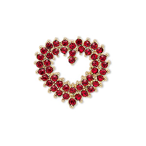 spot pin, czech glass rhinestone with gold-finished brass and pewter (zinc-based alloy), red, 24x23mm open heart. sold individually.