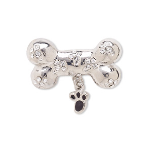 spot pin, enamel / czech glass rhinestone / silver-plated brass / pewter (zinc-based alloy), black and clear, 27x24mm dog bone. sold individually.