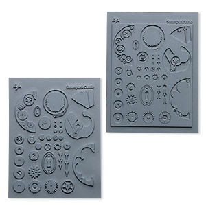 stamp, lisa pavelka signature series, silicone, grey, 5-1/2 x 4-1/4 inch finely detailed square with steampunk design. sold per pkg of 2.