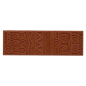 stamping mat, rubber, brown, 7x2-inch rectangle with jambalaya designs. sold individually.