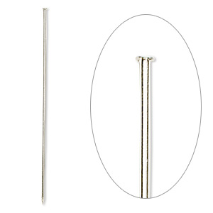 stick pin, silver-plated brass, 3 inches, 18 gauge. sold per pkg of 10.