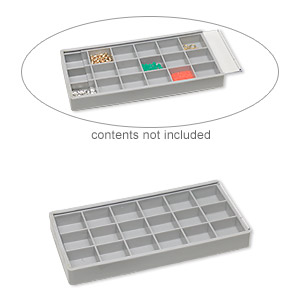 storage box, 18-compartment, 7-1/2 inches long by 3-3/4 inches wide by 7/8 inch deep, sold individually.