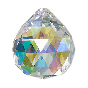 suncatcher, asfour crystal, crystal, clear ab, 35x30mm top-drilled faceted round teardrop. sold per pkg of 30.