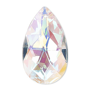 suncatcher, asfour crystal, crystal, clear ab, 37x21mm faceted flat teardrop. sold per pkg of 4.