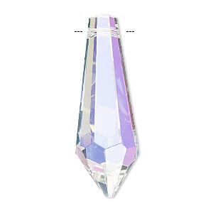 suncatcher, asfour crystal, crystal, clear ab, 38x13mm top-drilled faceted point. sold per pkg of 10.