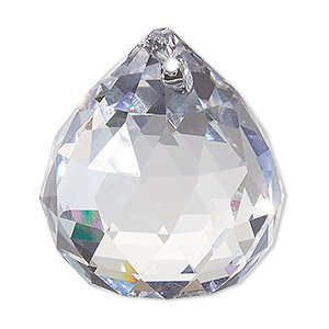 suncatcher, asfour crystal, crystal, crystal clear, 35x30mm faceted round teardrop. sold per pkg of 5.