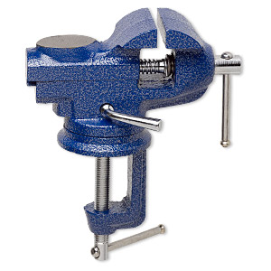 table vise, steel and iron, dark blue, 8x7 inches with swivel base, maximum jaw opening 60mm. sold individually.