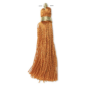 tassel, silk (imitation) and gold-finished copper, brown, 1-3/4 to 2 inches. sold per pkg of 12.