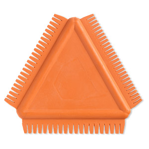texture comb, kemper, rubber, orange, 3-1/2 x 3-1/2 x 3-1/2 inch triangle. sold individually.