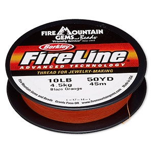 thread, berkley fireline, gel-spun polyethylene, blaze orange, 0.2mm diameter, 10-pound test. sold per 50-yard spool.