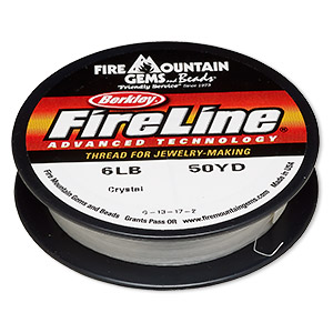 thread, berkley fireline, gel-spun polyethylene, crystal, 0.15mm diameter, 6-pound test. sold per 50-yard spool.