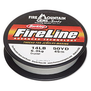thread, berkley fireline, gel-spun polyethylene, crystal, 0.23mm diameter, 14-pound test. sold per 50-yard spool.