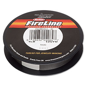 thread, berkley fireline, gel-spun polyethylene, smoke, 0.06mm diameter, 1-pound test. sold per 125-yard spool.