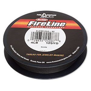 thread, berkley fireline, gel-spun polyethylene, smoke, 0.13mm diameter, 4-pound test. sold per 125-yard spool.