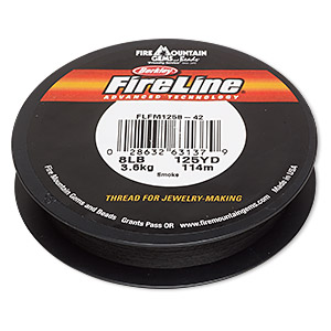 thread, berkley fireline, gel-spun polyethylene, smoke, 0.18mm diameter, 8-pound test. sold per 125-yard spool.