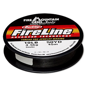 thread, berkley fireline, gel-spun polyethylene, smoke, 0.2mm diameter, 10-pound test. sold per 50-yard spool.