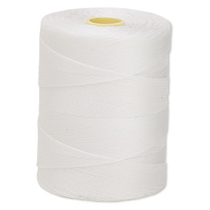 thread, c-lon, nylon, white, 0.25mm diameter. sold per 320-yard bobbin.