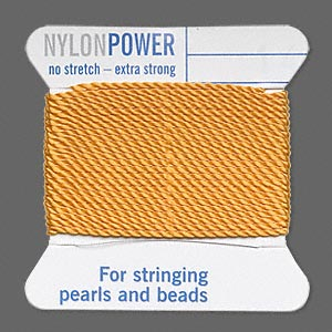 thread, nylon, amber yellow, size #14. sold per 2-yard card.