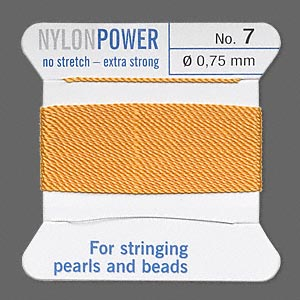 thread, nylon, amber yellow, size #7. sold per 2-yard card.