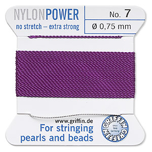 thread, nylon, amethyst purple, size #7. sold per 2-yard card.