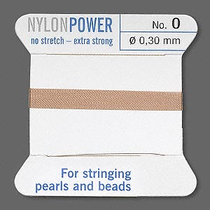 thread, nylon, beige, size #0. sold per 2-yard card.