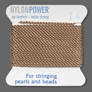thread, nylon, beige, size #14. sold per 2-yard card.
